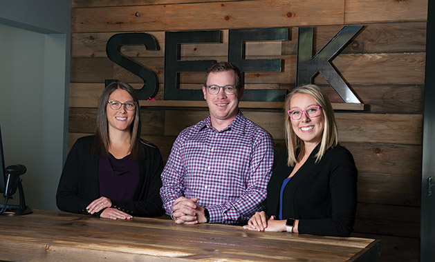 Left to right: Dr. Kelsey Keltgen, Mitch Peterson and Rachel McKennon